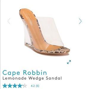 Cape robbin Lemonade wedge snake print clean heel